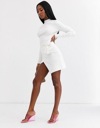 ASOS DESIGN co-ord rib mini skirt with wrap detail
