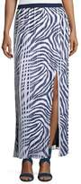 MICHAEL Michael Kors Animal-Print Pleated Maxi Skirt w/ Slit, Navy