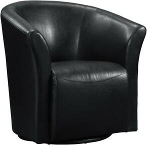 "Wade Logan Elisha 29"" W Faux Leather Swivel Barrel Chair Fabric: Black Faux leather"