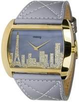 Moog Paris Skyline Women's Watch with Gray Dial, Gray Genuine Leather Strap & Swarovski Elements - M41882-103