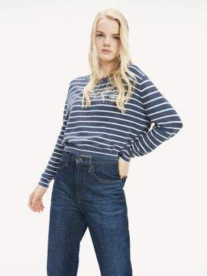 Tommy Hilfiger Stripe Cropped Fit Jumper