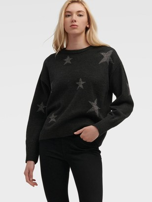 DKNY Women's Drop-shoulder Star Sweater - Heather Charcoal - Size XX-Small