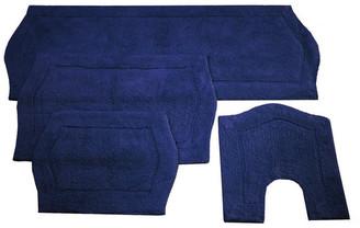 Home Weavers Inc. Waterford 4-Piece Bath Rug Set, Navy Blue