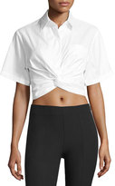 Alexander Wang Cotton Twill Twist-Front Blouse