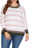Court & Rowe Stripe Contrast Cuff Cotton Sweater