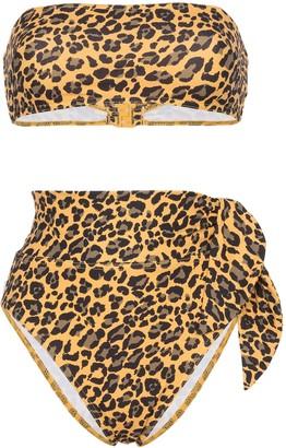 Zimmermann leopard print bandeau bikini