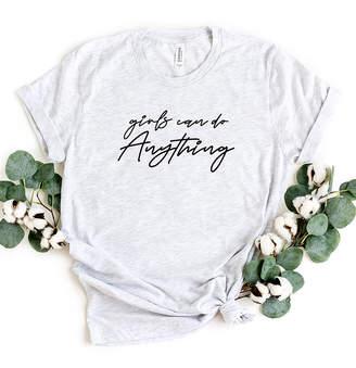 Ash Simply Sage Market Women's Tee Shirts  & Black 'Girls Can Do Anything' Crewneck Tee - Women