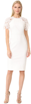 Lela Rose Lace Sleeve Fitted Sheath Dress