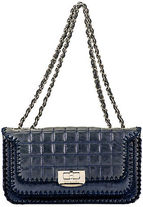 One Kings Lane Vintage Chanel Navy Leather & Crochet Flap Bag - Vintage Lux