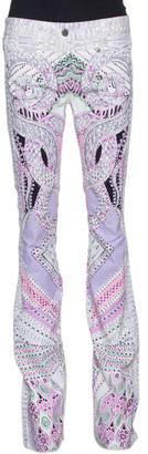 Roberto Cavalli White & Purple Snake Print Denim Flared Jeans M