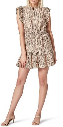 Joie Krystina Chevron Ruffle Cotton & Silk Minidress