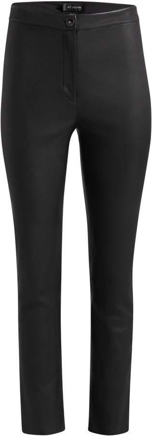 St. John Nappa Leather Cropped Flare Pants
