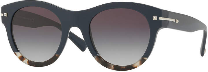 Valentino Two-Tone Rockstud Iridescent Sunglasses