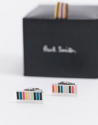 Paul Smith artist colour block cufflinks in silver