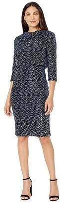 Badgley Mischka Sequin Velvet Blouson Cocktail Dress (Navy/Silver) Women's Dress