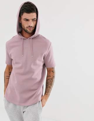 Asos Design DESIGN short sleeve hoodie with curved hem in dusty purple-Pink
