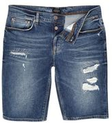 River Island Dark Blue Wash Distressed Denim Shorts