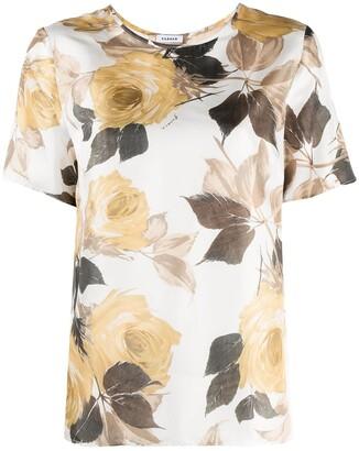 P.A.R.O.S.H. Floral-Print Short-Sleeve Blouse