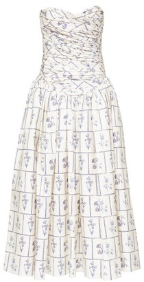 KHAITE Cleo Strapless Ruched Floral Tile-print Midi Dress - Womens - White Print