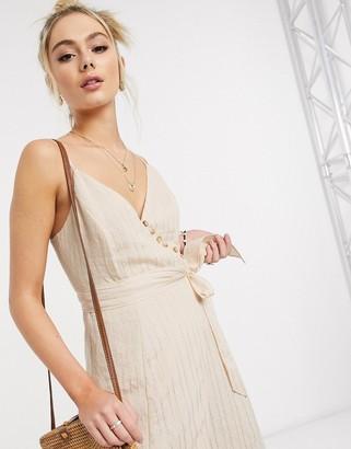 Skylar Rose wrap front midi dress in beige