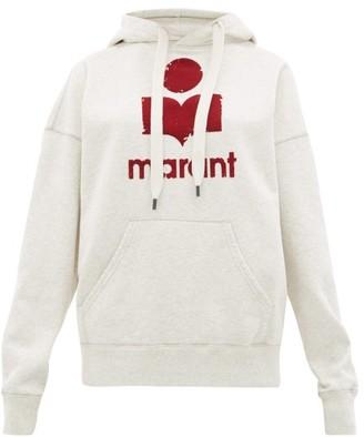 Etoile Isabel Marant Mansel Flocked-logo Cotton-blend Hooded Sweatshirt - Womens - Light Grey