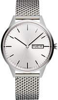 Uniform Wares C40/psi01stamilpsi1818r Day Date Bracelet Strap Watch, Silver