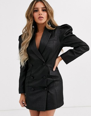 Asos Design DESIGN exaggerated sleeve double breasted blazer-Black