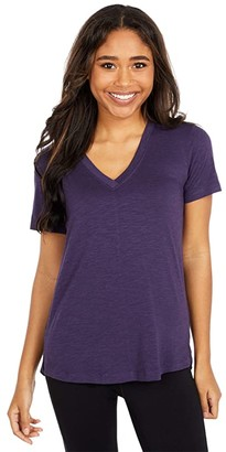 tasc Performance Easy V-Neck Tee (Deep Violet) Women's Clothing