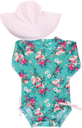 RuffleButts Fancy Me Floral Print Rash Guard w/ Swim Hat, Size 0M-3
