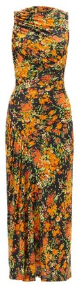 Atlein - Ruched Floral-print Stretch-crepe Dress - Womens - Orange Print