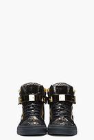 Giuseppe Zanotti Black and Gold Printed Python London Sneakers