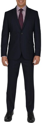 Kenneth Cole Reaction Navy Shadow Check Two Button Notch Lapel Slim Fit Suit
