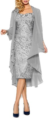 HWAN Lace Mother of The Bride Dresses Formal Gowns with Chiffon Jacket Wraps Bolero Silver