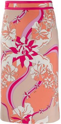 Emilio Pucci Floral Print Pencil Skirt