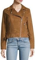 Andrew Marc Farryn Faux-Suede Moto Jacket, Brown