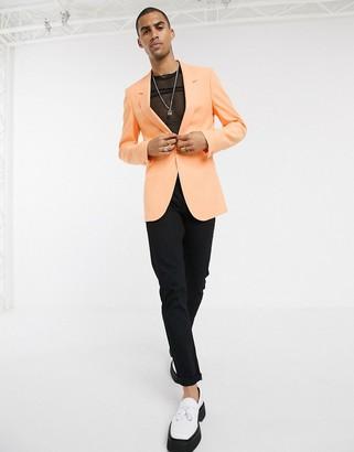 ASOS DESIGN longline slim crepe blazer in peach