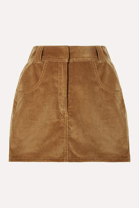 RE/DONE 90s Ultra High Rise Western Pocket Cotton-corduroy Mini Skirt - Camel