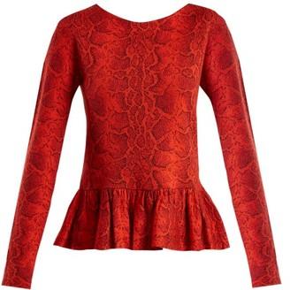 Chloé Python-jacquard Ruffle-hem Top - Womens - Red Print