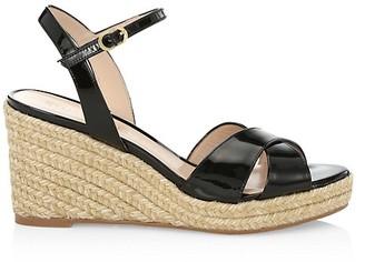 Stuart Weitzman Rosemarie Patent Leather Platform Espadrille Wedge Sandals