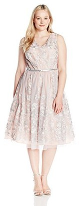 Jessica Howard JessicaHoward Women's Plus Size V-Neck Party Dress