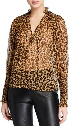 Veronica Beard Jaz Silk Leopard-Print Sheer Blouse