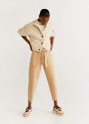 MANGO Textured button cardigan