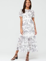 Very Lace Trim Toile Layered Midaxi Dress - Mono Print