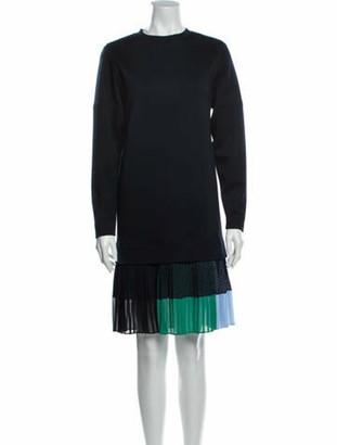 Akris Punto Crew Neck Knee-Length Dress w/ Tags Blue