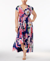 INC International Concepts Plus Size Printed Surplice Maxi Dress, Only at Macy's