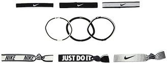 Nike Mixed Ponytail Holder 9-Pack (Black/Black/White) Hair Ties