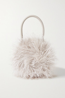 Loeffler Randall Zadie Feather-embellished Leather Tote - Off-white