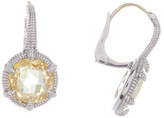 Judith Ripka Sterling Silver Eclipse Round Canary Crystal Doublet Earrings