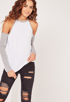 Missguided Contrast Sleeve Cold Shoulder Tunic White