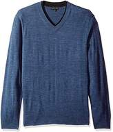 Geoffrey Beene Men's Long Sleeve Double V-Neck Sweater, Indigo Heather, XX-Large
